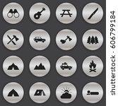 set of 16 editable travel icons.... | Shutterstock .eps vector #606799184