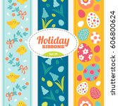 easter seamless ribbons with... | Shutterstock .eps vector #606800624