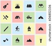 set of 16 editable travel icons.... | Shutterstock .eps vector #606802106