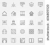 interior design icons set.... | Shutterstock .eps vector #606805520