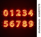 neon red city font numbers set. ... | Shutterstock .eps vector #606809378