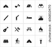 set of 16 editable camping... | Shutterstock . vector #606810470
