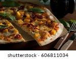 pizza with chicken  pumpkin ... | Shutterstock . vector #606811034