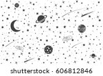 space background with cosmic... | Shutterstock .eps vector #606812846