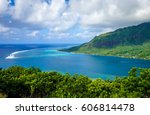 aerial view of opunohu bay and... | Shutterstock . vector #606814478