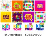 kids zone banner design big set.... | Shutterstock .eps vector #606814970