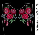 embroidery fashion neckline... | Shutterstock .eps vector #606818138