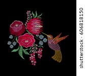 Fashion embroidery patch with hummingbird, spring flowers, roses, protea. Vector floral ornament on black background for textile, fabric traditional folk decor.   Shutterstock vector #606818150