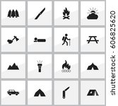 set of 16 editable trip icons.... | Shutterstock . vector #606825620