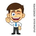 businessman gesturing ok and... | Shutterstock .eps vector #606826406