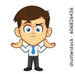 confused businessman gesturing | Shutterstock .eps vector #606826436