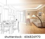modern design interior of... | Shutterstock . vector #606826970