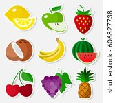 colourful stickers fruit set on ... | Shutterstock .eps vector #606827738