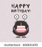 monster illustration with... | Shutterstock .eps vector #606831650