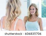 smiling beautiful young woman... | Shutterstock . vector #606835706