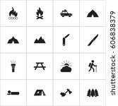 set of 16 editable camping... | Shutterstock . vector #606838379