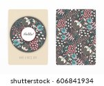cover design with floral... | Shutterstock .eps vector #606841934