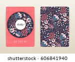cover design with floral... | Shutterstock .eps vector #606841940