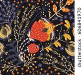floral seamless pattern. hand... | Shutterstock .eps vector #606841970