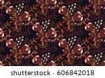 floral seamless pattern. hand...   Shutterstock .eps vector #606842018
