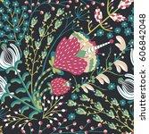 floral seamless pattern. hand... | Shutterstock .eps vector #606842048