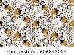floral seamless pattern. hand... | Shutterstock .eps vector #606842054