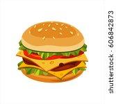 double cheeseburger sandwich ... | Shutterstock .eps vector #606842873