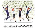 concept of success. people jump ... | Shutterstock .eps vector #606843950