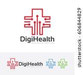 digital health  vector logo... | Shutterstock .eps vector #606844829