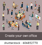 create your own office concept. ... | Shutterstock .eps vector #606852770