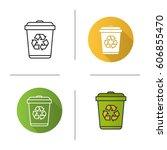 recycle bin icon. flat design ... | Shutterstock .eps vector #606855470