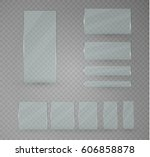 set of glass plates. vector... | Shutterstock .eps vector #606858878