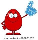 red easter egg cartoon mascot... | Shutterstock .eps vector #606861590