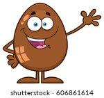 chocolate egg cartoon mascot... | Shutterstock .eps vector #606861614