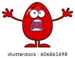 scared cracked red egg cartoon... | Shutterstock .eps vector #606861698