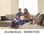 portrait of smiling family with ... | Shutterstock . vector #606867326