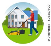 man mowing the lawn with yellow ... | Shutterstock .eps vector #606867920