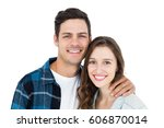 cute couple embracing and... | Shutterstock . vector #606870014