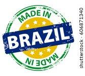 made in the brazil rubber stamp ... | Shutterstock .eps vector #606871340