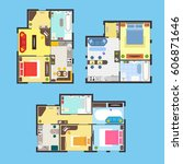 architectural apartment plan... | Shutterstock .eps vector #606871646
