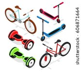 bike set isometric view urban... | Shutterstock .eps vector #606871664