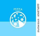 pizza slice .vector icon. | Shutterstock .eps vector #606876899