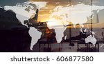 airport and traveling the world.... | Shutterstock . vector #606877580