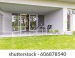 modern backyard terrace with... | Shutterstock . vector #606878540