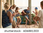 friends hanging out on vacation ... | Shutterstock . vector #606881303