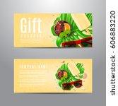gift voucher with summer... | Shutterstock .eps vector #606883220