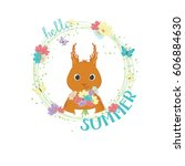 happy little squirrel holding... | Shutterstock .eps vector #606884630