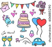 doodle of wedding element... | Shutterstock .eps vector #606885290