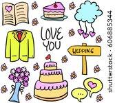 vector illustration of wedding... | Shutterstock .eps vector #606885344