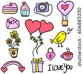 doodle of wedding party element | Shutterstock .eps vector #606885350